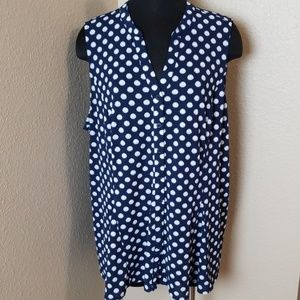 Charter Club Navy Polka Dot Blouse